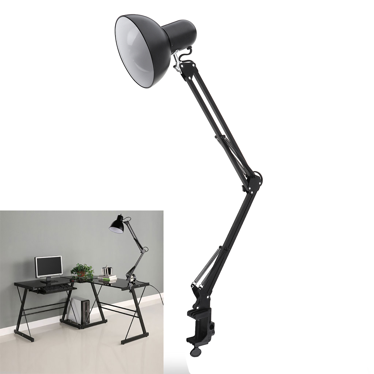 Flexible Table LED Lamp Swing Arm Mount Clamp Lamp Home Offi
