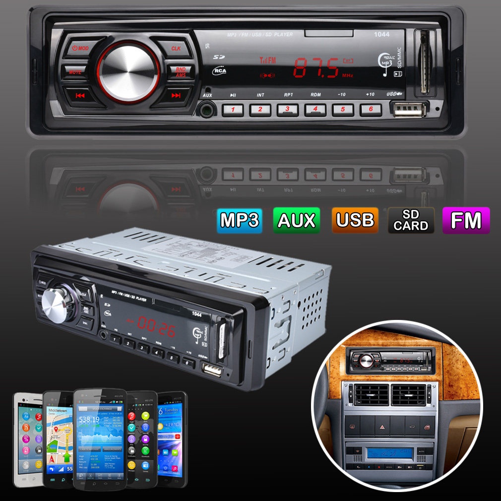 Car Stereo Audio In-Dash 4-channel FM Aux Receiver SD USB MP