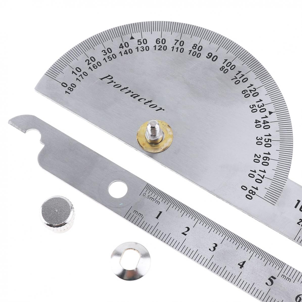 0-180-Stainless-Steel-Round-Head-Dual-Arm-Protractor-Angle-Finder-Rotary-Ruler miniature 3