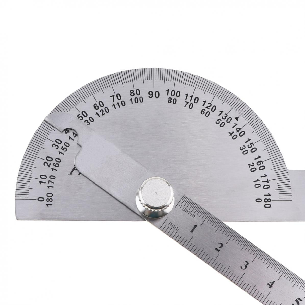 0-180-Stainless-Steel-Round-Head-Dual-Arm-Protractor-Angle-Finder-Rotary-Ruler miniature 6