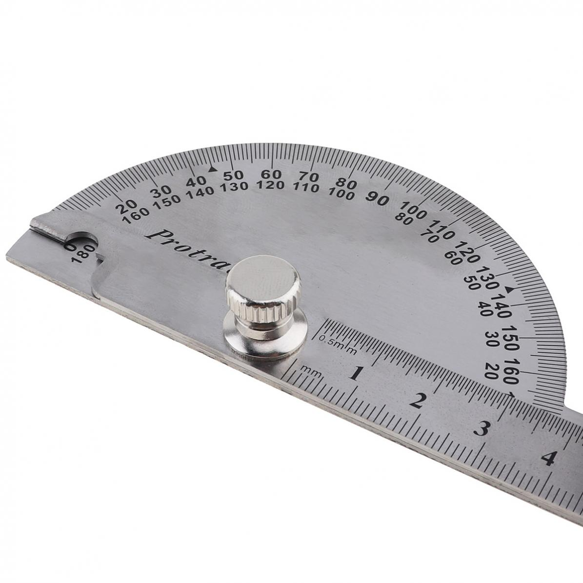 0-180-Stainless-Steel-Round-Head-Dual-Arm-Protractor-Angle-Finder-Rotary-Ruler miniature 7