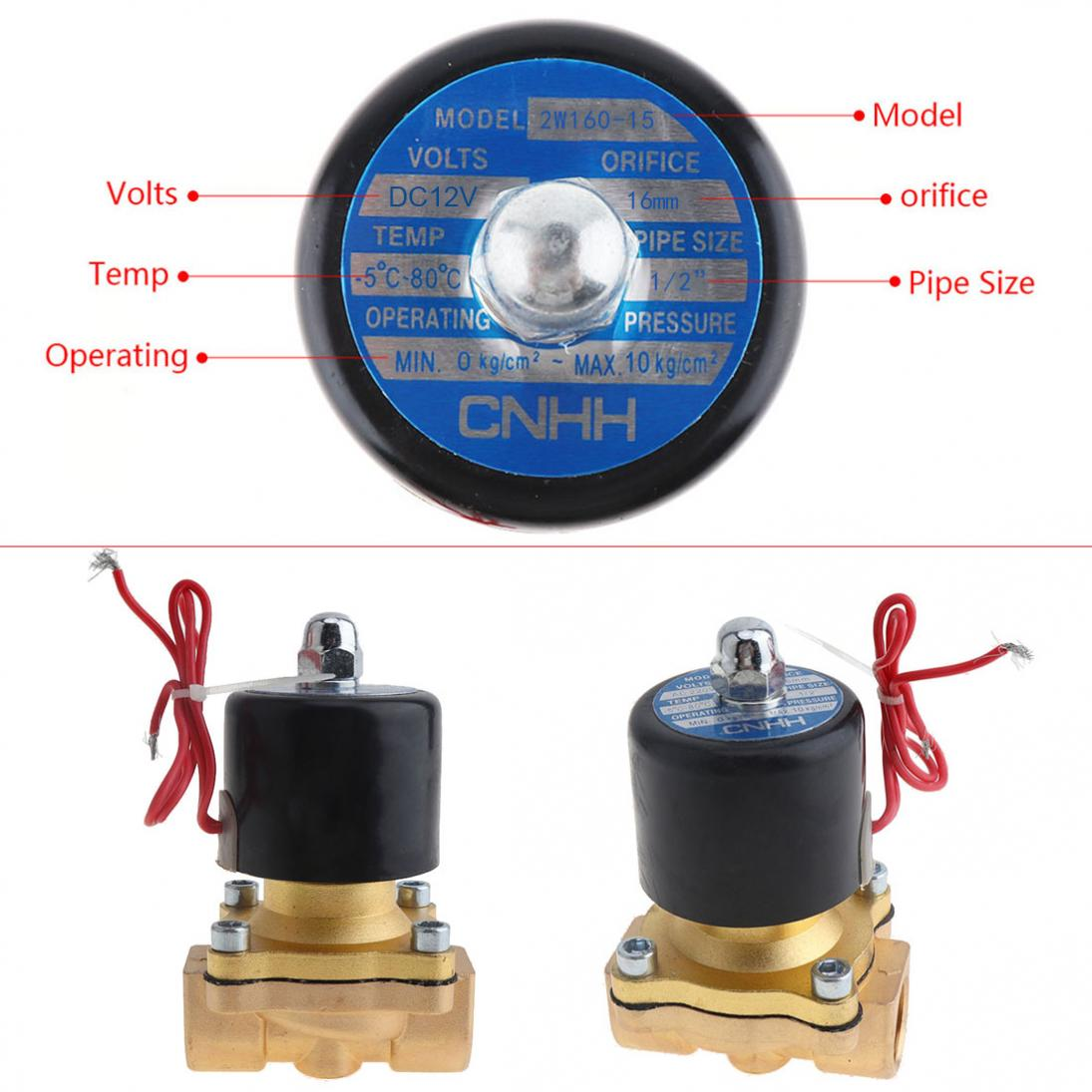 1-2-039-039-DC12-Brass-Electric-Solenoid-Valve-N-C-Gas-Water-Fuel-Air-Solid-Coil-New thumbnail 4