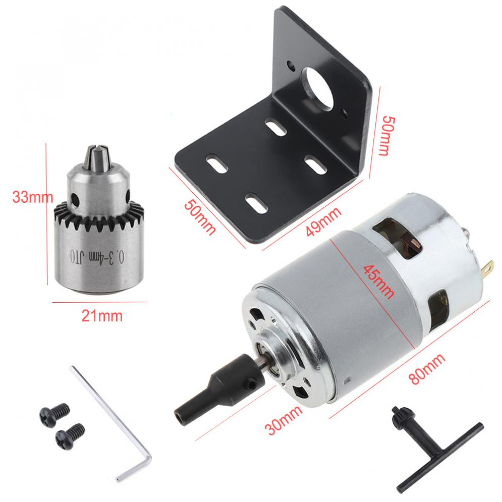 12-24V-Mini-Hand-Drill-DIY-Lathe-Press-775-Motor-w-JTO-Chuck-Mounting-Bracket thumbnail 3