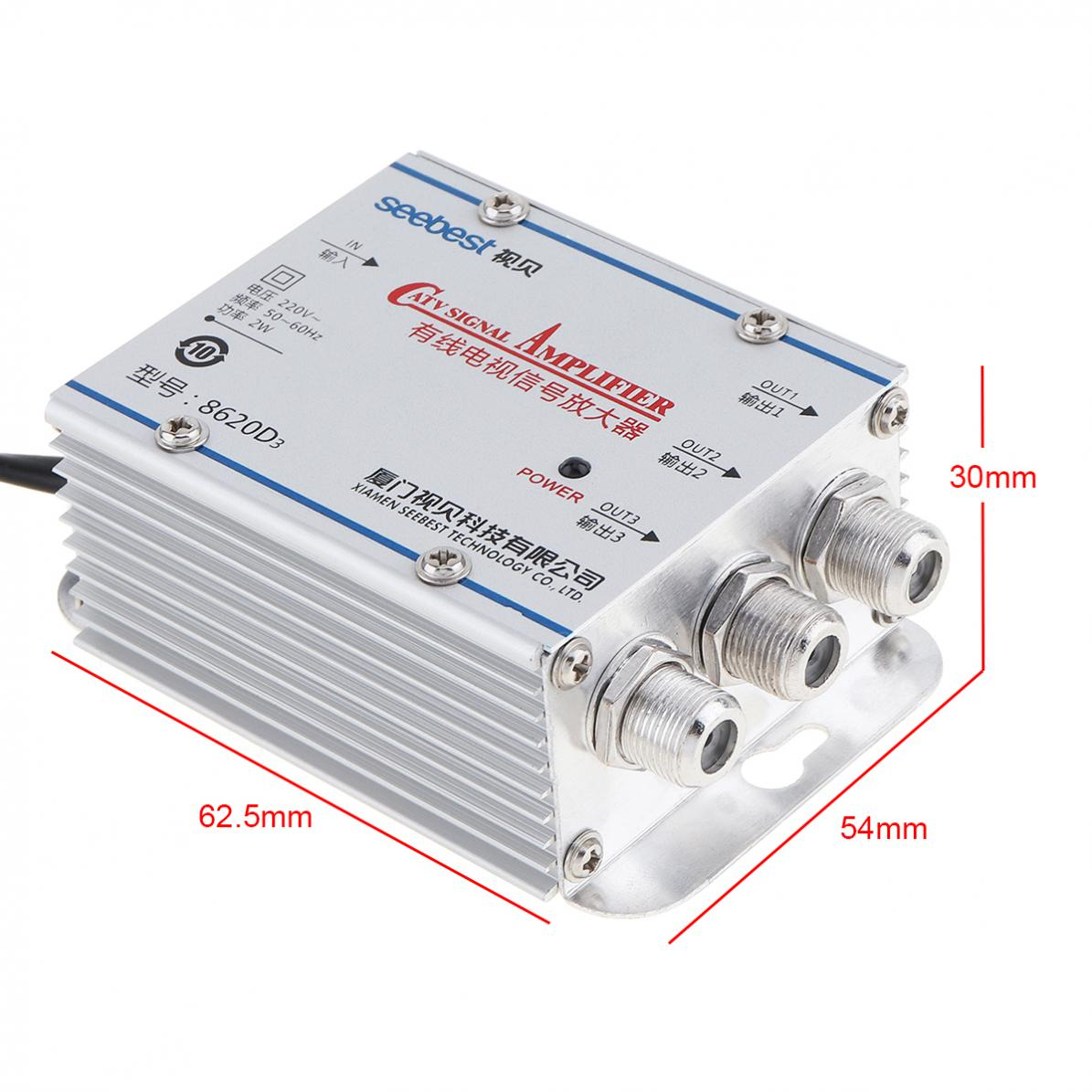 Signal-Amplifier-45-860MHz-1-In-3-Out-CATV-VCR-20DB-TV-Antenna-Booster-Splitter thumbnail 2