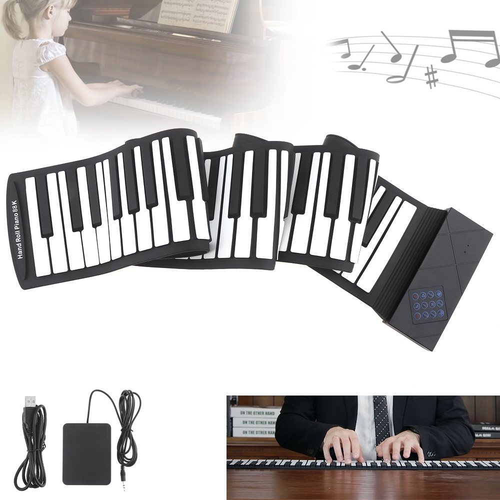 Details about 88 Key Flexible Foldable Soft Portable Electric Digital  Roll-up Keyboard Piano