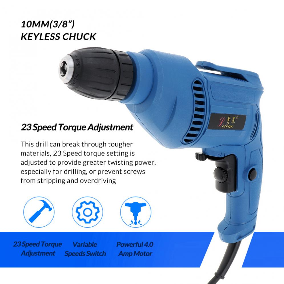 220V-600W-Handheld-Electric-Impact-Wrench-Drill-Screwdriver-w-10mm-Drill-Chuck miniature 5
