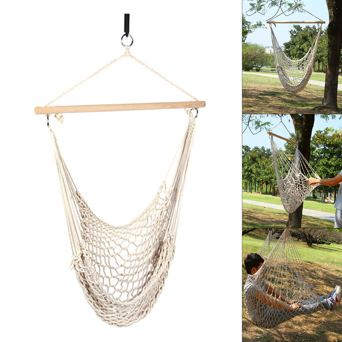 Hammock Cotton Swing Camping Hanging Rope Chair Wooden White